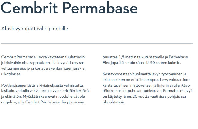 Cembrit Permabase tekniset tiedot