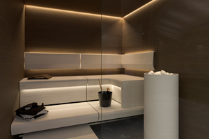 Sauna Linear Lasi - Epäsuora valaistus saunan kattoon